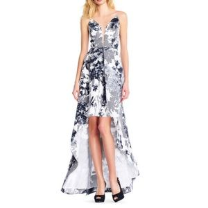 Adrianna Papell Floral Gown w/ Plunging Neckline